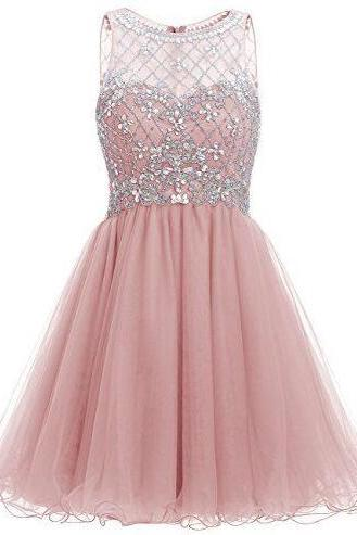 A-Line Homecoming Dress,Sexy Tulle Homecoming Dress,Chiffon Pink Homecoming Dresses,Short Homecoming Dress,Sweetheart Homecoming Dresses,Illusion Crystal Cocktail Dresses with Embellished Bodice