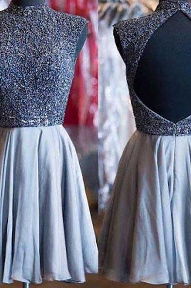 grey homecoming dresses,high neck prom dress,open back prom dresses,vintage prom dresses,elegant homecoming dresses