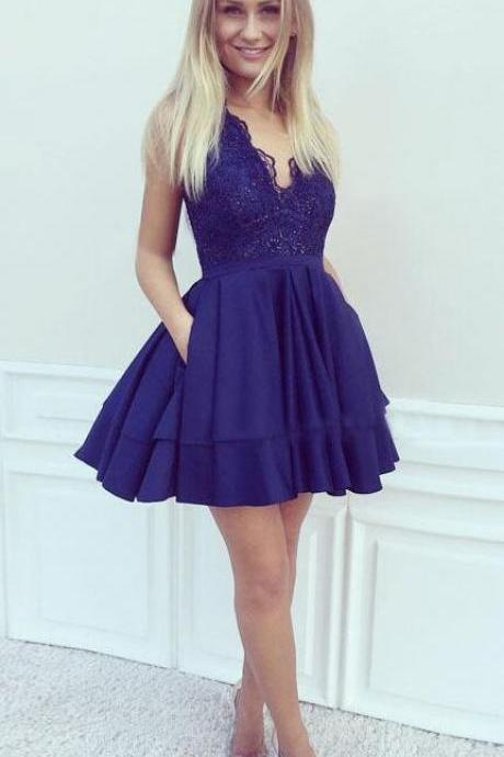 Sexy Lace Homecoming Dress,Cheap A-Line Homecoming Dress,V-Neck Prom Dresses,Dark Blue Homecoming Dresses,Satin Homecoming Dress,Short Homecoming Dress,Lace Homecoming Dresses,Beading Homecoming Dress With Pockets