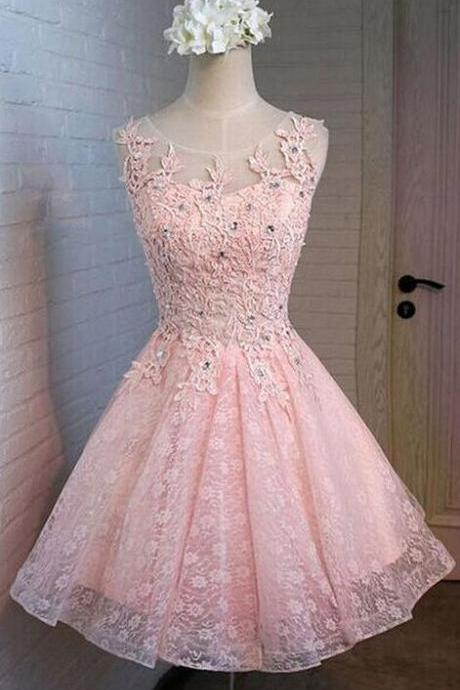 Fashion Homecoming Dress,Cheap Prom Dress,Pink Prom Dresses,Short Homecoming Dress,Sexy Party Dress,Custom Made Evening Dress,Lace Homecoming Dresses,Appliques Prom Dress
