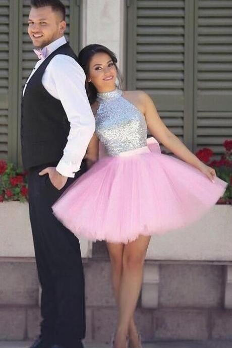 Pink Homecoming Dress,Tulle Homecoming Dress,Short Homecoming Dresses ,Short Prom Dress,High Neck Dresses,Sequins Homecoming Dresses,Silver Puffy Skirt Cocktail Party Dresses,Sparkly Prom Dresses