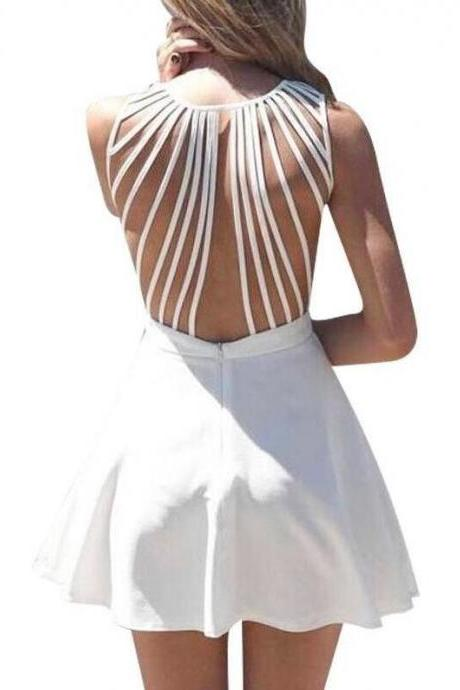 Short Homecoming Dress,Cheap White Homecoming Dresses,Sleeveless Prom Dress,Strappy Back Dresses,Women Skater Dress,White Prom Dress,Cute Prom Dress,Short Prom Dress