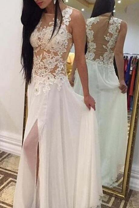 Backless Prom Dress,White A-line Prom Dress,Long Prom Dress,Chiffon Prom Dress,Lace Prom Dress,Slit Prom Dress,Appliques Party Dresses,Long Formal Gowns,Evening Dresses