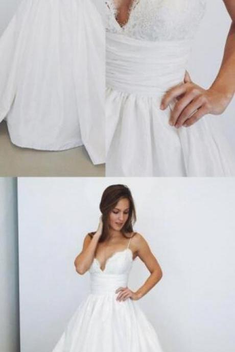 Spaghetti Straps Wedding Dresses,2018 Wedding Dresses,Cheap Wedding Dress,Lace Wedding Dresses,A line Wedding Dresses