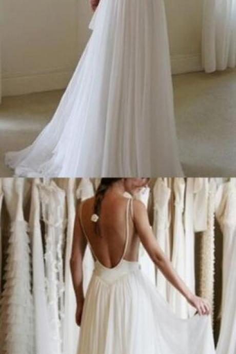White Chiffon Wedding Dress,Backless Wedding Dress,Lace Wedding Dresses,Lace Wedding Dress Sheer Back, Lace Wedding Dress, Wedding Dress