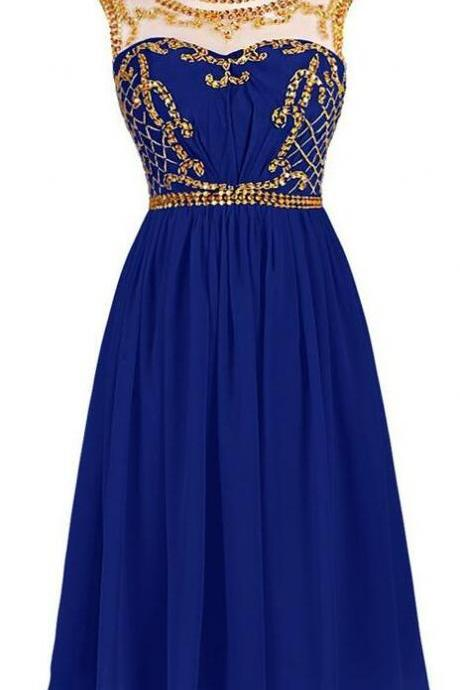 Sexy Royal Blue Short Prom Dress,Chiffon Homecoming Dress with Illusion Neckline and Gold Sequin Embellishment