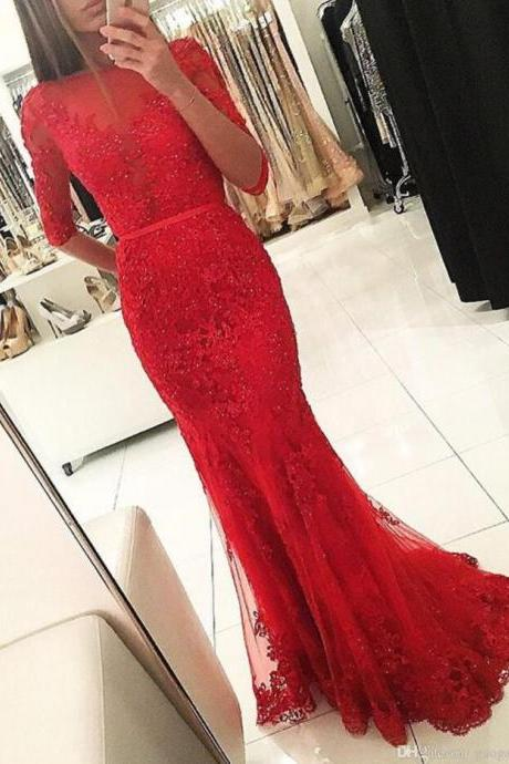 Sexy Red Prom Dress,Backless Half Sleeved Prom Dress,Lace Prom Dress,Long Evening Dresses,Open Back Sweep Train Prom Gowns,Prom Dresses ,Beauty Party Dresses