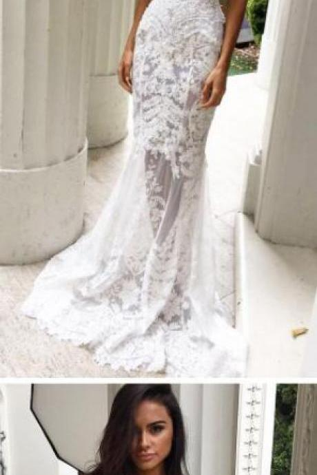 Charming Sheath Lace Bridal Gowns,Sweetheart Wedding Dresses with Appliques, Lace Wedding Dresses,Strapless Bridal Dresses,Long Wedding Dresses