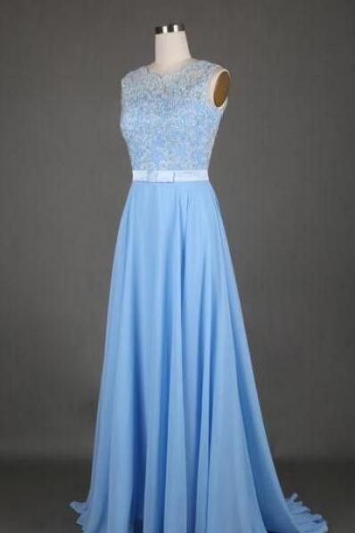 Light Blue Chiffon Prom Dress,Lace prom Dress,Cheap Prom Dress,Charming Prom Dress,Long Evening Dress,Appliques Party Dress