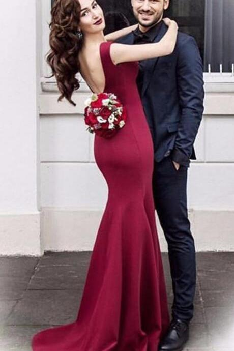 Sexy Prom Dress,Wine Red Prom Dress,Sleeveless Mermaid Prom Dress,Sweep Train Mermaid Evening Dress,Long Formal Dress