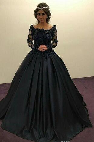 Off-Shoulder Long Sleeves Prom Dress,Dark Blue Black Prom Dress,Ball Gown Beaded Appliques Prom Dress,Full Quinceanera Gowns Evening Dress