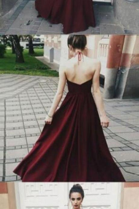 Dark Red Illusion Bodice Prom Dress,Halter Prom Dress,Opening Back Sexy Prom Dresses ,Lace prom Dress,Long Party Gowns A line Evening Prom Dress Custom Made