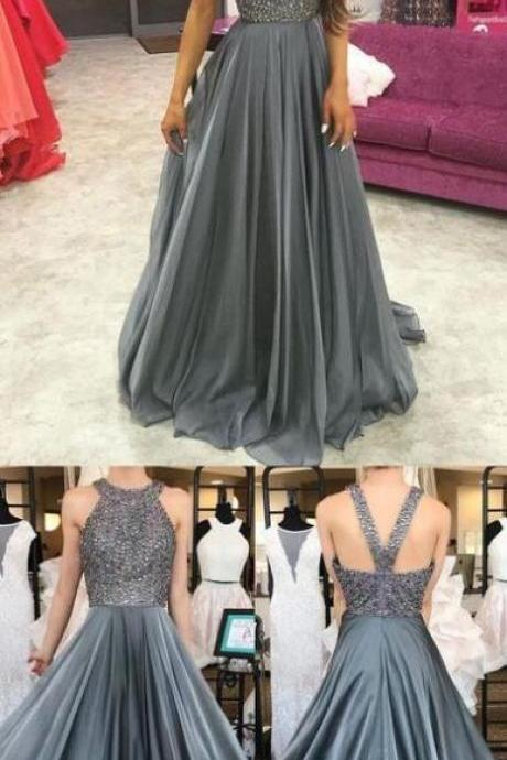 Long Prom Dresses,Cheap Prom Dresses,O-Neck Beading A-Line Prom Dresses, Evening Dress Prom Gowns, Formal Women Dress