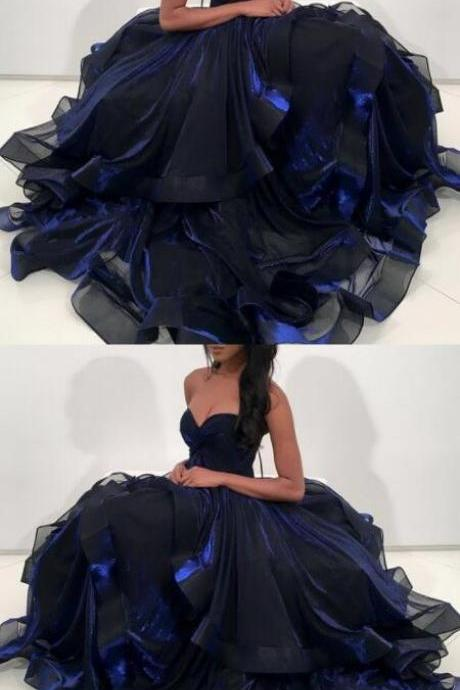 Navy Blue Organza Prom Dress,A-Line Sweetheart Sweep Train Prom Dress,Ball gown Prom Dress,Sexy Party Dress