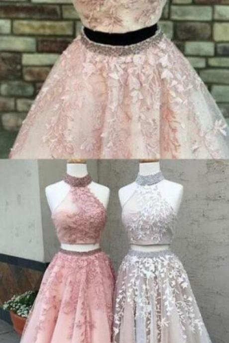 Two Piece Prom Dress,Lace Prom Dress,A-Line Halter Backless Prom Dress,Pink Tulle Prom Dress with Appliques Beading