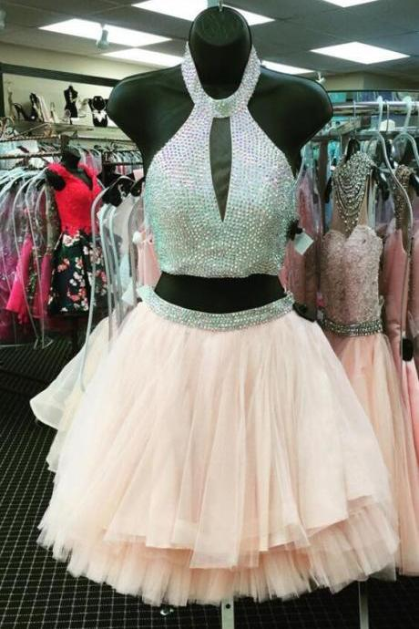 short prom gowns ,two piece prom dress short,halter homecoming dress,Cheap Prom Dress,two piece homecoming dresses