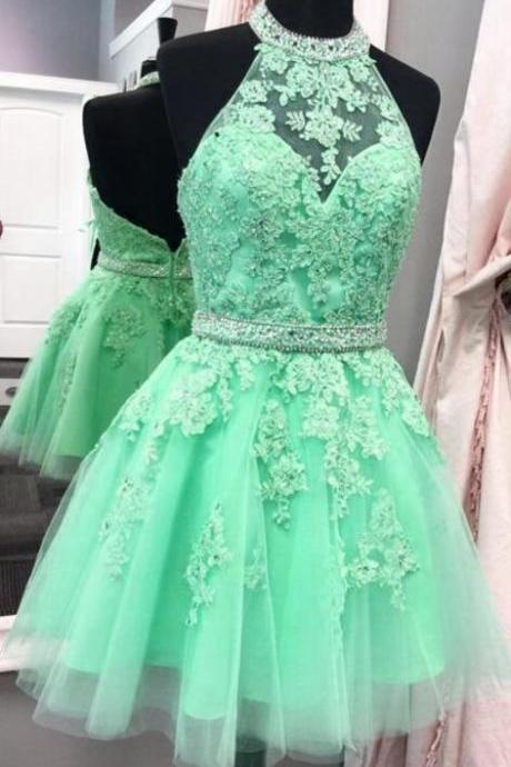 tulle homecoming dress,short prom dresses, halter homecoming dress,lace homecoming dress,elegant party dress