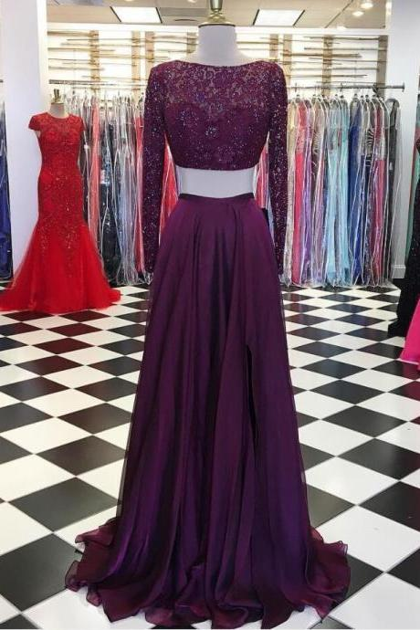 Long Sleeve Prom Dress,Sexy Beading Evening Dress, Chiffon Prom Dress,Cheap Prom Dress,Two Piece Prom Dress, Sexy Long Prom Dresses