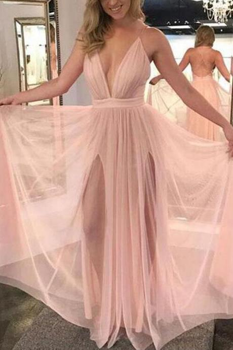 Sexy Pink Prom Dresses, CHeap Prom Dress,Charming Prom Dress, Deep V Neck Backless Long Evening Dress