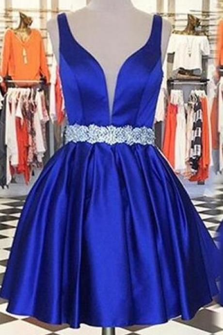 Royal Blue Homecoming Dress,Sleeveless Homecoming Dress,Matte Satin Homecoming Dresses, A lines Beaded Mini O-neck Open Back A lines,short prom dress