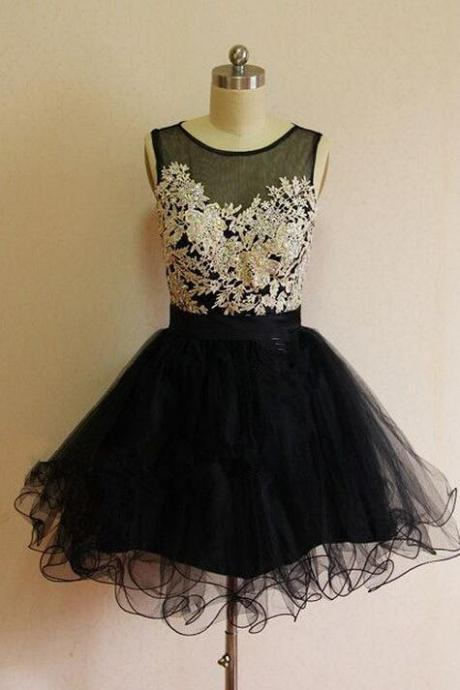 Black Homecoming Dresses ,Lace Homecoming Dress,Sexy Homecoming Dress,Sexy A Line Lace Prom Dress,Above Knee Sheer Neckline Zipper-Up A Line