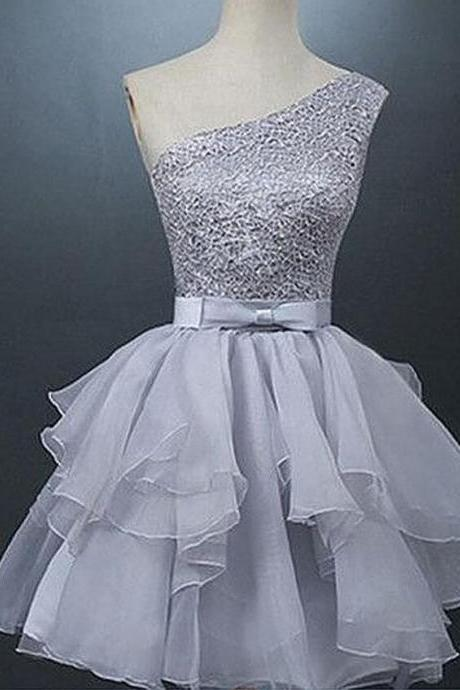Grey homecoming Dress,Sexy Homecoming Dress,Organza Homecoming Dresses ,Tulle Prom Dress,A lines Beadings Short One Sleeve Laced Up A lines