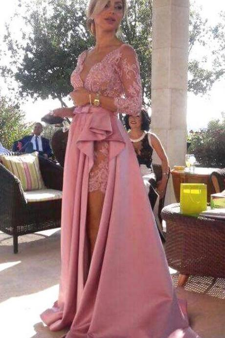 Long Lace Sleeve Prom Dress,Sexy prom Dress,Lace Prom Dress, Satin Prom Dresses with Ruched Slit