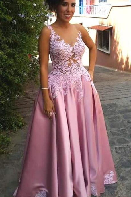 Appliques Illusion Bodice Satin Prom Dresses,Sexy Lace Prom Dress,A Line Prom Dress,Sexy Formal Gowns Long