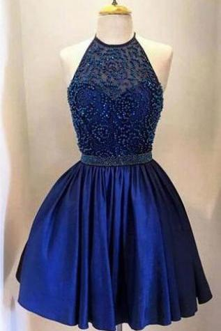 Royal Blue Homecoming Dress,Beading Homecoming Dress,Sexy Prom Dress,Taffeta with Beading, Stain Prom Dress,High Neck Bodice Halter Homecoming Dresses