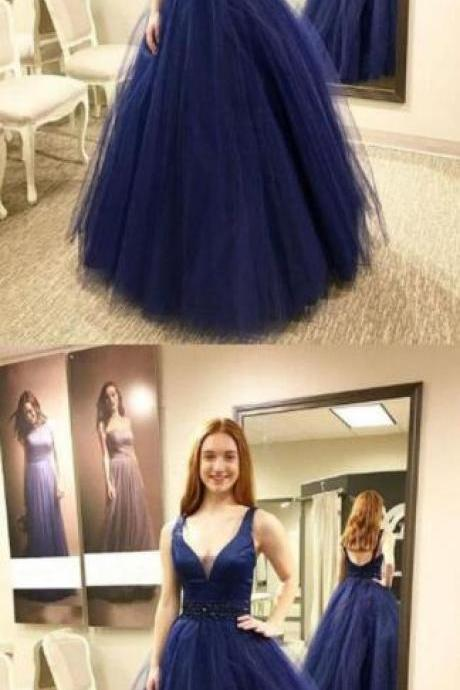Dark Blue Prom Dress,Sexy Prom Dress,Tulle Prom Dress,V-Neck Prom Dress,Beaded Long Prom Dress,cheap prom dress