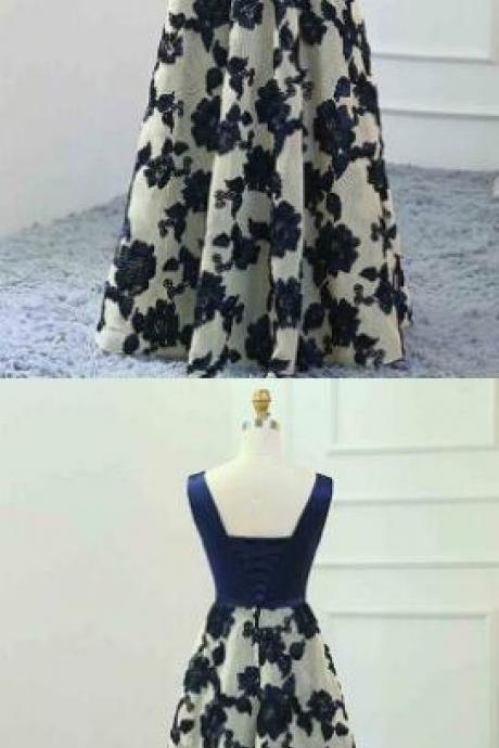Long Prom Dress,Navy Blue Prom Dress,Cheap Prom Dress,Sleeveless V Neck Floral A-line Floor-Length Prom Dress, Evening Dress Featuring Lace-Up Back