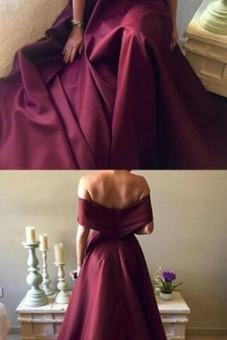 Dark Red Satin Prom Dress,Sexy Prom Dress,Long A-line Prom Dress,Off Shoulder Evening Gowns ,2018 Sexy Prom Dress