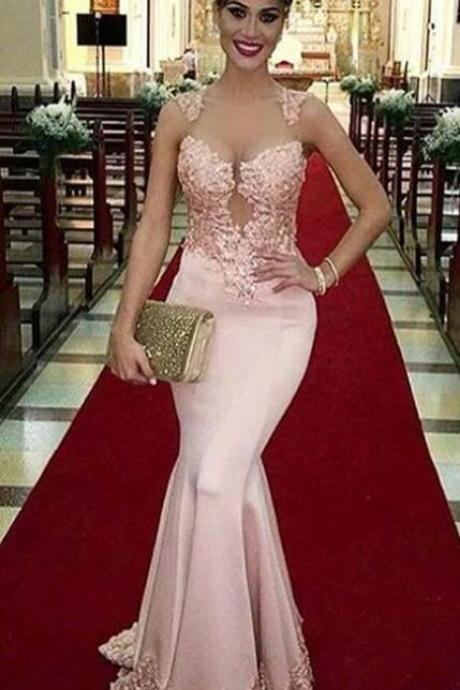 Sleeveless Mermaid Prom Dresses ,Lace Prom Dress,Stain Prom Dress,Sexy Prom Dress,Long Evening Dress,Appliques Evening Gowns