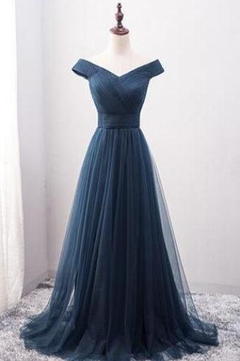 off the shoulder Evening Dresses,Navy Blue Prom Dress,Pretty Prom Dresses,Cheap Prom Dress,Tulle Bridesmaid Gown,Simple Bridesmaid Dress,Tulle Wedding Gowns,Dark Navy Bridesmaid Dresses