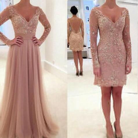 Blush Pink Prom Dresses,Lace Prom Dress,Simple Prom Dress,Prom Dress,Blush Pink Evening Gowns,Long Sleeves Prom Dress,Elegant Prom Dresses