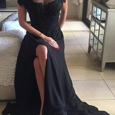 Off-shoulder Prom Dress,Sexy Lace Prom Dresses,Leg Slit Prom Dress,Black Prom Dresses,Black Formal Gown,Lace Prom Dress,Appliques Evening Dress