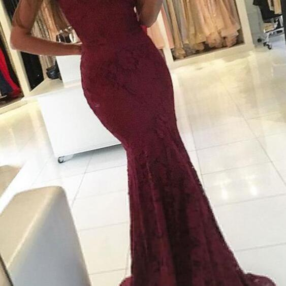 Lace Prom Dresses,Burgundy Prom Dresses,Sexy Prom Dress,Mermaid Prom Dresses,V-neck Prom Dresses,Long Evening Dresses,Sexy Party Dresses,Mermaid Evening Dresses