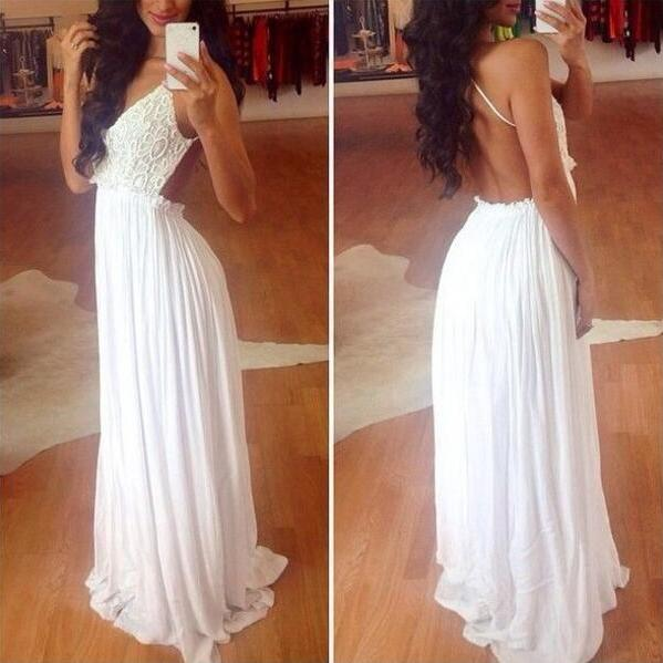 Top Chiffon Backless Prom Dresses, White Prom Dress,Charming Prom Dress,Cheap Lace Prom Dress,Lace Prom Dress Backless Prom Gowns