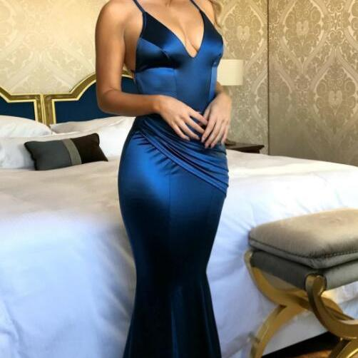 Royal Blue Backless Prom Dresses, Sexy Evening Dress,Cheap Prom Dress,Mermaid Prom Dresses, V Neck Prom Dress, Prom Evening Dress, Woman Dresses, Formal Gowns