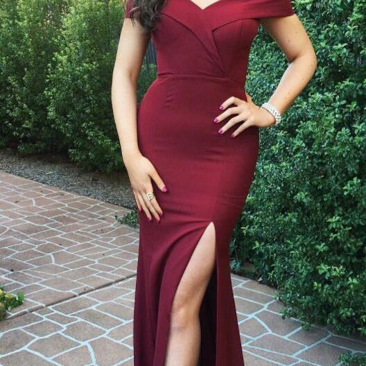 Long Prom Dresses, Cheap Stain Prom Dress,Off the Shoulder Slit Prom Dresses, Beautiful Burgundy Mermaid Prom Dresses, Long Dress for Prom, Formal Dresses for the Weddings