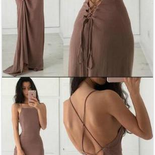 Sexy Backless Prom Dress,Cheap Prom Dress,Simple Prom Dress,Long Brown Prom Dress/Evening Dress with Open Back