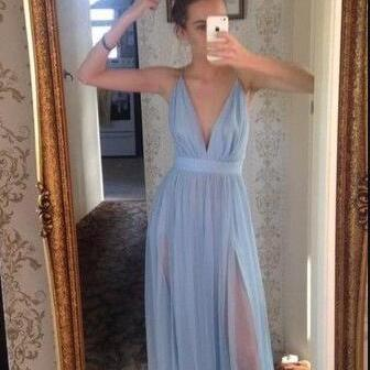 Open Back Prom Gown,Cheap Prom Dress,Long Prom Dress,Sky Blue Prom Dress,Sexy Evening Dress,Sexy Open Back Graduation Dress