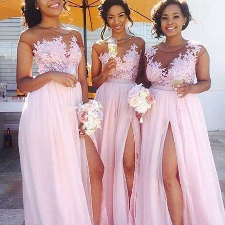 Pink Lace Bridesmaid Dress,A line Prom Dress,Sexy Slit Prom Dress,Chiffon Prom Dress,Sexy lace Slit Evening Dress