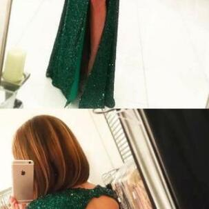 dark green prom dress,long prom dress,sexy prom dress,formal party dresses with open back cap sleeves, sparkle prom evening dresses split